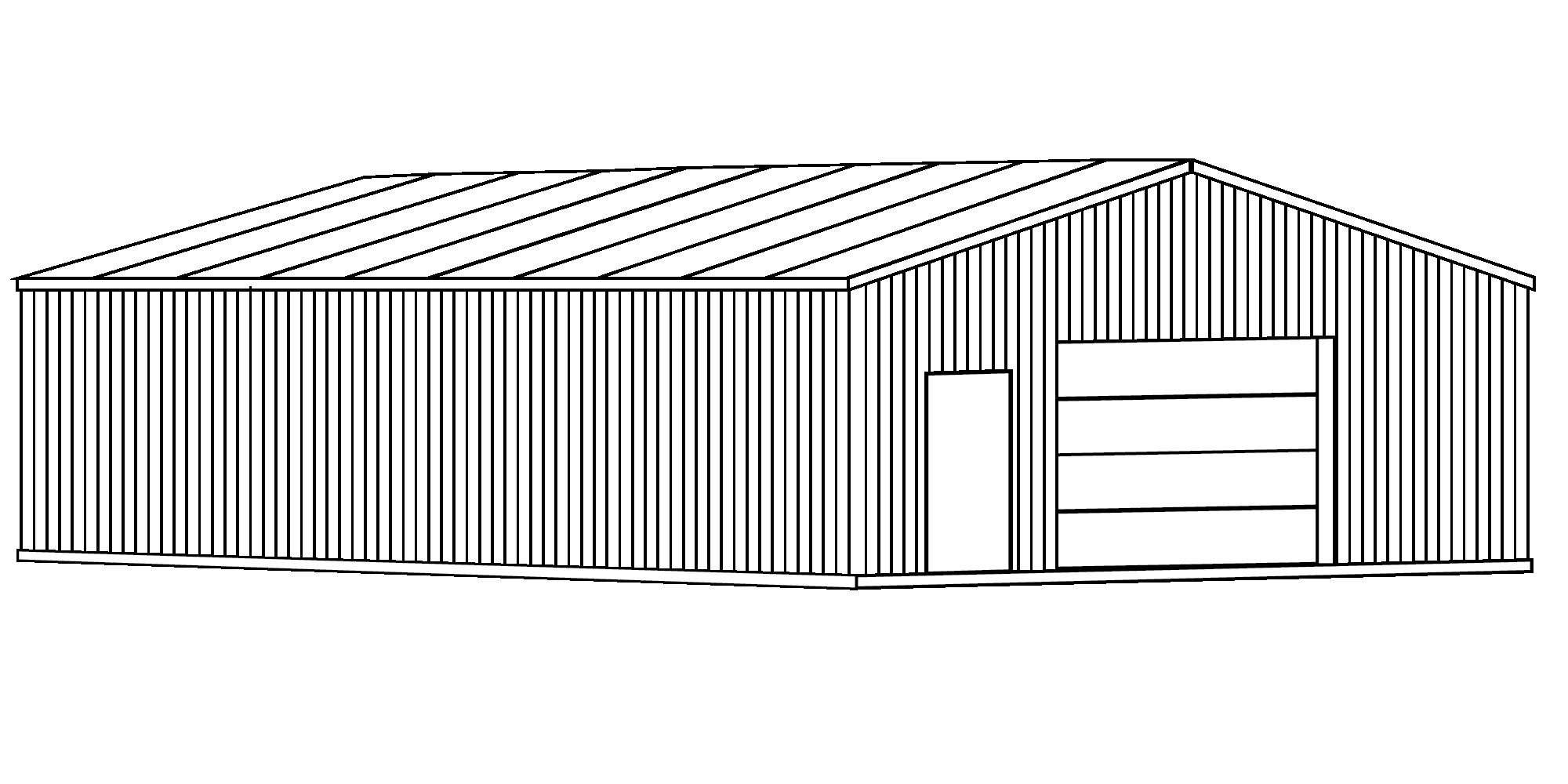 Diagram of a metal barn